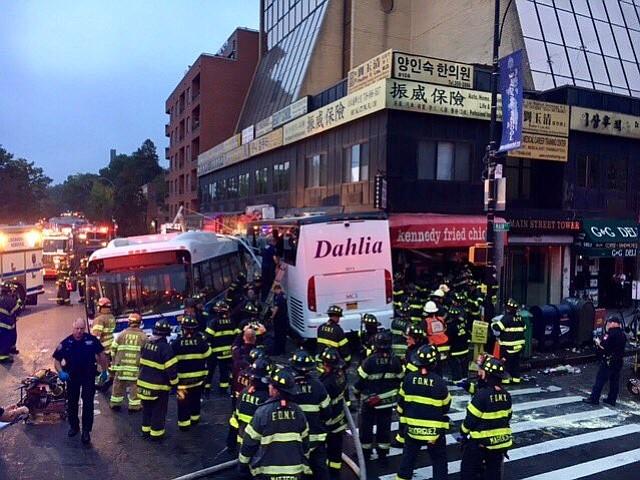 Three killed, over a dozen injured in Queens double bus crash