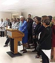 Cook County President Toni Preckwinkle along with health care providers address the health and economic benefits of the Sweetened Beverage Tax during a recent press conference. Photo Credit: Cook County Health & Hospitals System