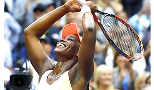 Sloane Stephens, of the United States, reacts after beating Madison Keys, of the United States, in the women's singles final of the U.S. Open tennis tournament, Saturday, in New York.