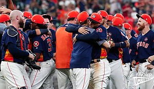 Houston Astros celebrate the big win as the 2017 AL West Division Champs/photo cred Facebook.com/Astros