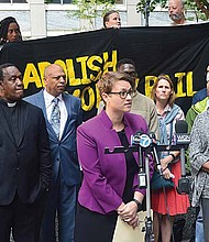 Community and criminal justice reform organizations held a press conference on Sept. 11 to stand against the way bonds are set in Cook County. Photo Credit: Christopher Shuttlesworth