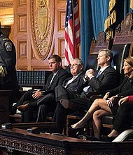 Boston Police Superintendent in Chief Daniel Gross speaks during a commemoration of the terrorist attacks of September 11, 2011 in the House chamber of the Massachusetts Legislature.