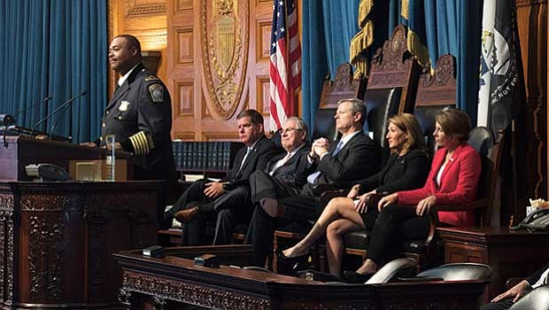 Boston Police Superintendent in Chief Daniel Gross speaks during a commemoration of the terrorist attacks of September 11, 2011 in the House chamber of the Massachusetts Legislature.