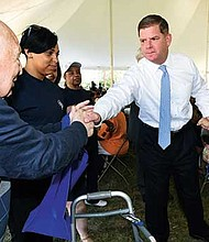 Mayor Martin Walsh, the Commission on Affairs of the Elderly and City Fresh Foods hosted the 13th annual Senior Party in the Park at Malcolm X Park in Roxbury.