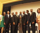Eleven candidates attended a debate forum. From left to right: Carlos Henriquez,