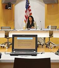 City Councilor Ayanna Pressley interviews students.