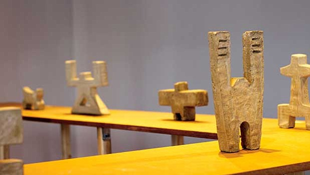 Kalimah Muhammad's concrete sculptures on display at Boston Sculptor's Gallery.