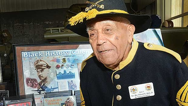 Buffalo Soldier re-enacter, Napoleon R. DePina displays