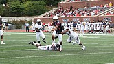 University of Richmond wide receiver Tyler Wilkins carries the ball past the Howard University defense during last Saturday's blowout at Robins Stadium on the UR campus.
