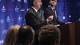 Republican gubernatorial candidate Ed Gillespie makes a point while Democratic Lt. Gov. Ralph Northam listens during Tuesday night's gubernatorial debate in Northern Virginia.