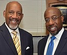 Metropolitan Baptist Church Pastor Rev. Dr. Reginald L. Porter Sr. (left) confers with the Rev. Dr. Raphael Gamaliel Warnock in the pastor's study after Warnock conducted the first of three days of revival. 