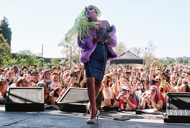 "All out for VA PrideFest // Aja from ""RuPaul's Drag Race"" performs before enthusiastic fans"