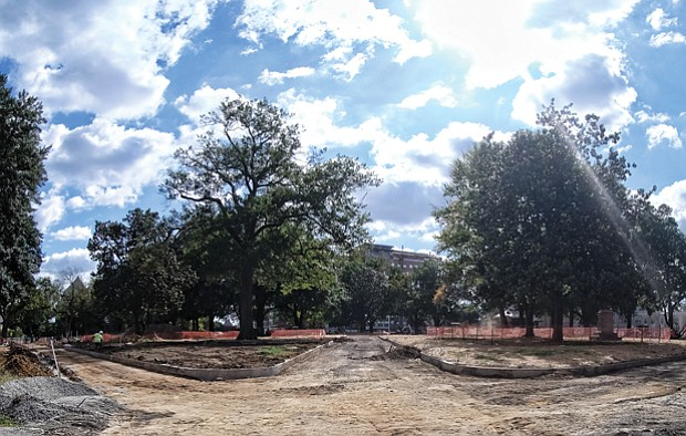 Work continues on the roughly $6 million in improvements to Monroe Park, the city's oldest park nestled in the Monroe Campus of Virginia Commonwealth University on Belvidere Street. The facelift started last November and is expected to be completed in the coming months.
