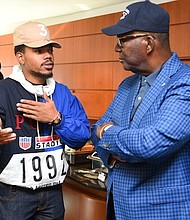 Chance the Rapper and Clark Atlanta University's Dr. Johnson. Photo courtesy: Curtis McDowell