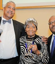 People Making A Difference 2017 award recipient, Laura Wooten, is a 96-year-old Princeton resident and member of the Princeton Board of Elections for more than 70 years pictured with South Jersey Journal's Founders, Irv Randolph, right, and Al Thomas.