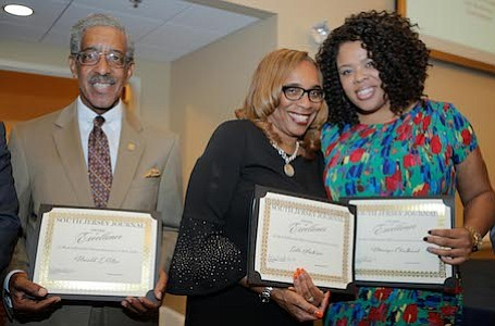 Most Influential African Americans in New Jersey recipients, State Senator, Ronald Rice; Director of New Jersey Redevelopment Authority, Leslie Anderson and President & CEO of United Way of Salem County, Monique Chadband.