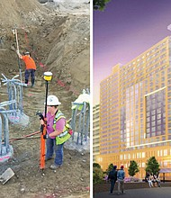 A diverse workforce is on the job as footings to start construction of a convention hotel are put in place at the site of the future Hyatt Regency Portland at the Oregon Convention Center (left). An artist's rendering shows the future Hyatt Regency Portland at the Oregon Convention Center, a 600-room hotel that will bring in an estimated 2,000 jobs. When opened in 2019, staffing of the hotel will require another 950 hospitality and tourism jobs.