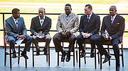 Steve Burton (left) moderates a discussion. Second from left to right: former Red Sox player and coach Tommy Harper, Patriots player Andre Tippett, Boston Bruins Foundation executive director Bob Sweeney and radio broadcaster and former Celtics player Cedric Maxwell.