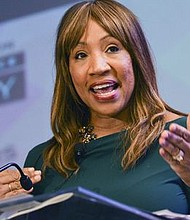 Cheryl Grace, the senior vice president of U.S. Community Strategic Alliances and Consumer Engagement for Nielsen, says that marketers must recognize the intercultural influence of Black women on the general market. In this photo, Grace (née Pearson-McNeil) speaks during the 2017 NNPA Mid-Winter Conference in Fort Lauderdale. (Freddie Allen/AMG/NNPA)