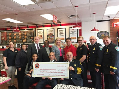 Local first responders, as well as Firehouse Subs Public Safety Foundation Senior Manager of Foundation Development Meghan Vargas; Firehouse Subs Area Representative Dan Lowe; and Firehouse Subs franchisees Dexter White, Camille Hammond, Jason Hammond, Ayaz Moledina, Timothy Padilla and Isaac Ralston attended a ceremony on Thursday, October 5, 2017 where over $63,899 worth of life-saving equipment grants was awarded to four local first responder organizations.