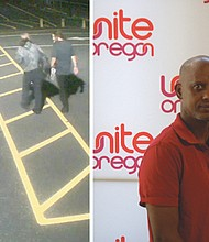 Kayse Jama (right) was angry when he found out his child's school in northeast Portland was smeared with racist graffiti.A security photo (left) shows two men who police say are suspects in a rash of racist graffiti across multiple elementary schools in the David Douglas School District.