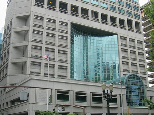 The Multnomah County Justice Center, downtown, includes a jail with several floors reserved for prisoners.