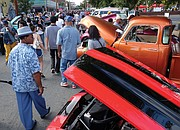eye-catching classic cars and trucks stop traffic near 2nd and Marshall streets.