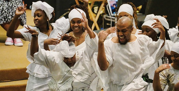 the Ezibu Muntu Dance Company performs a processional followed by pouring of libation and drum call sparking the spirit in the celebration of Ms. Pinckney's life. Her death at age 43 leaves an enormous hole in Richmond's creative community.