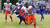 VSU explosive senior running back Trenton Cannon takes it down the field as the Trojans crushed the Elizabeth City State University Vikings 56-0 at ECSU's Roebuck Stadium last Saturday.