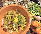 Succotash with beaten eggs
