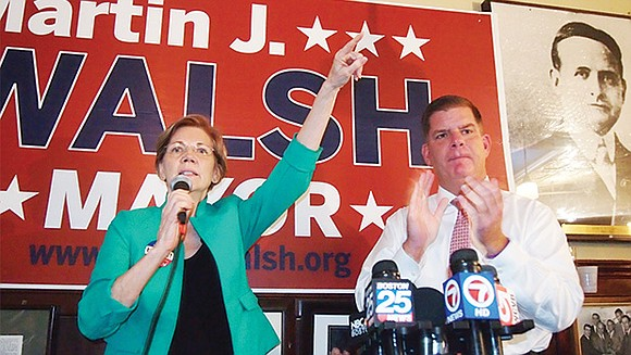 Boston Mayor Martin Walsh made a push for progressive voters on Sunday when he appeared with U.S. Senator Elizabeth Warren ...