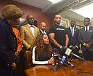 Tamika Mallory and her supporters hold a press conference about her mistreatment by American AIrlines