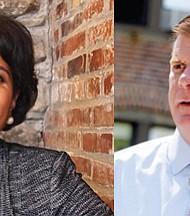 (Right) Tanisha Sullivan, president of the Boston Branch of the NAACP. (Left) Mayor Martin Walsh.