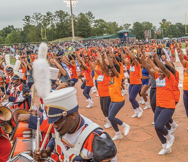 VSU celebrates homecoming //  the Virginia State Trojan Explosion Marching Band and The Woo Woos, including current and former squad members, keep the crowd in the game.