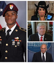 Sgt. La David Johnson, Congresswoman Frederica Wilson, President Donald Trump and White House Chief of Staff John Kelly
