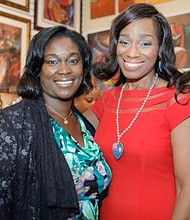 Mame Young, Owner of LaBelle Art Gallery with fundraiser host and PHL 17 Tribune Broadcasting morning news anchor, Jennifer Lewis-Hall.