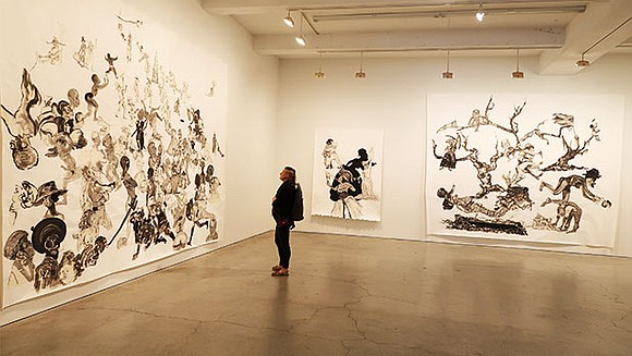 Black and white dominate the palette of Kara Walker, an artist whose room-size murals, sculptures, videos and works on paper ...