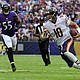 Chicago Bears quartetback Mitchell Trubisky eludes Ravens outside linebacker Terrell Suggs during the game in week 6 in the NFL on Sunday, October 15, 2016 at M&T Bank Stadium in Baltimore.