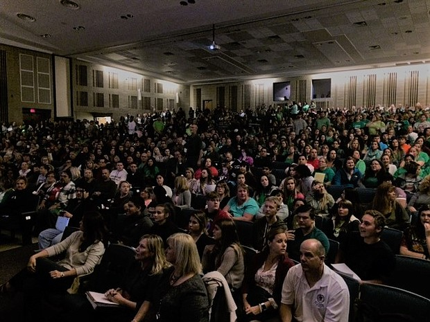 Concerned residents crowded in to the Plainfield South High School auditorium on Oct. 18 to voice their concerns regarding contract negotiations with the teacher's union.