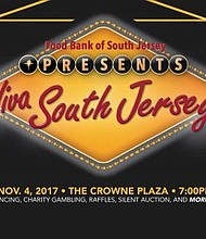 The Food Bank of South Jersey presents Viva South Jersey, an annual fundraising event to generate the necessary funds to serve those going hungry in the community. The event will be held Nov. 4 from 7 p.m. – 11 p.m. at The Crowne Plaza Hotel, Riverside Ballroom, 2349 W. Marlton Pike, Cherry Hill, NJ.