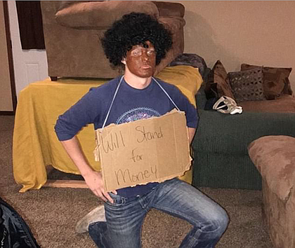 College student Cole Paulson in blackface as Colin Kaepernick