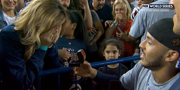 Houston Astros shortstop Carlos Correa was finishing up his interview on Fox minutes after his club clinched its first World ...