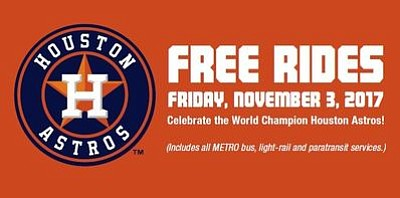 METRO is providing free rides Friday, Nov. 3 for all services to help ease traffic congestion in downtown Houston during ...