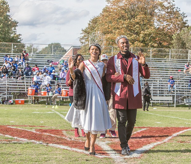Wild with pride // Mr. and Ms. VUU 2017, Cory Dixon and Cecilia Thompson, take a royal walk onto the field as they are introduced to alumni and fans who packed the stands.