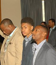 First Baptist Church of Swedesboro anniversary weekend came to a close with a Sunday worship experience.  The preached word was provided by two young men, Mark Frisby, Jr., a high school student and Walking Deacon (in training) Robert J. Page, Jr. (second and third from your left).  There were guest liturgical dancers, praise and worship.