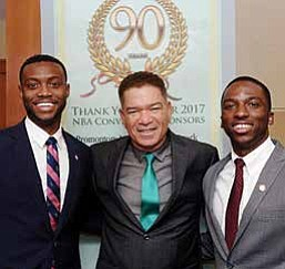 National Bankers Association (NBA) President Michael Grant introduced Marcus Howard and Charles Hands III to NBA bankers during the organization's 90th Anniversary celebration.
