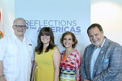 Mark Rosenberg B. (FIU President of Florida International University), Jordana Pomeroy (Frost Art Museum), Joni Fernandez (Univision) & Raul De Molina