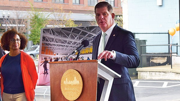Mayor Walsh speaking at press event in Jackson Square.