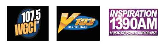 Three Chicago-based sister stations – urban WGCI-FM, urban AC V103 and Gospel 1390..