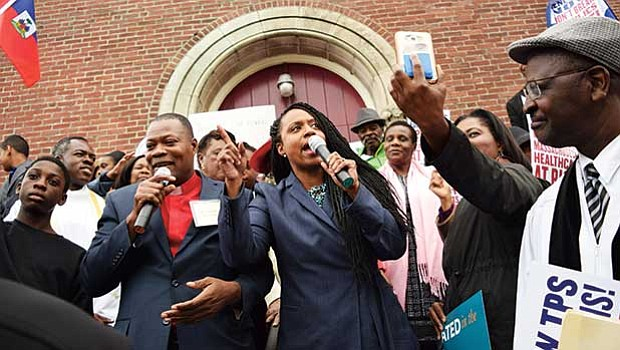 At-large City Councilor Ayanna Pressley rallies with Haitian-Americans United, Inc.